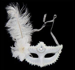 Masquerade mask white ostrich