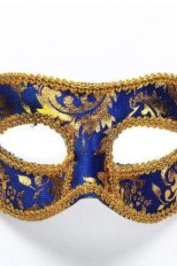 Masquerade Mask - Velvet Blue Gold