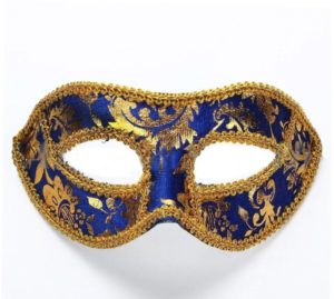 Masquerade Mask - Velvet Blue Gold