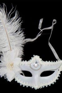 Masquerade Mask - White Ostrich
