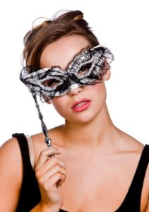 Masquerade Mask On Stick Lace Silver