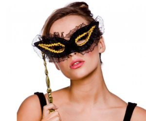 Masquerade Mask On Stick Lace Gold