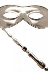 Masquerade Mask On Stick Silver